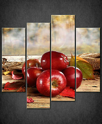 Red Autumn Leaves Shiny Apples Cascade Canvas Wall Art Print Ready To Hang