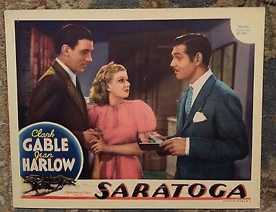 Saratoga lobby/poster card with Clark Gable and Jean Harlow 1937