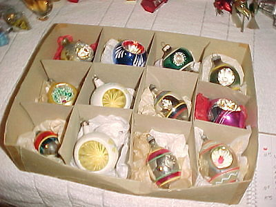 12 Glass Christmas Ornaments Indents Poland Germany Shinybrite