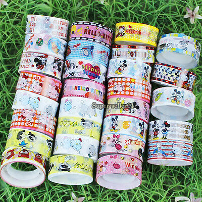 10/30/50Pcs Cute Cartoon Deco Scrapbooking Mixed Washi Adhesive Tape Glue