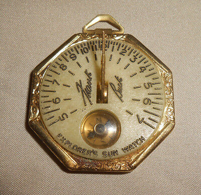 Explorer's Sun Watch Vintage Compass and Sun Dial Celluloid and Tin