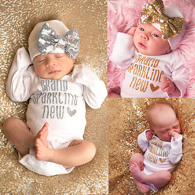 USA Newborn Baby Girls Bodysuit Romper Jumpsuit + Bow Hat Outfit Clothes Set