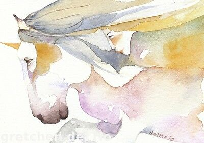 """ACEO Giclee PRINT watercolor 2.5"""" x 3.5""""  SPIRIT OF THE UNICORN goddess horse"""