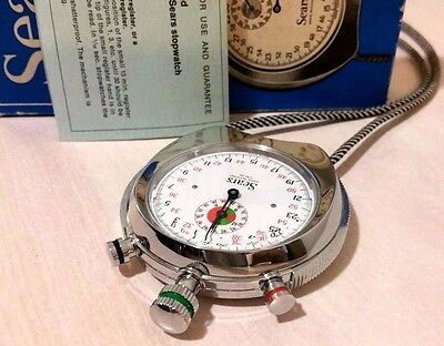 HEUER STOPWATCH SEARS CHROME MODEL brand new collectible orig. box and warranty