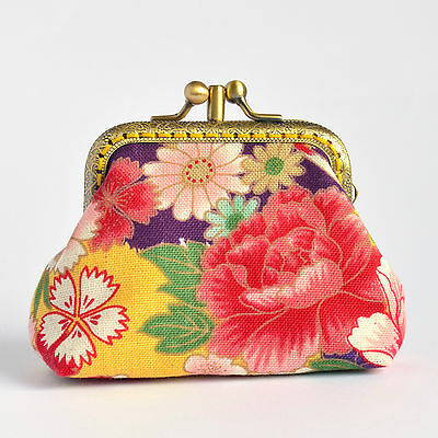 Hand crafted Japanese floral coin purse with double kiss lock frame