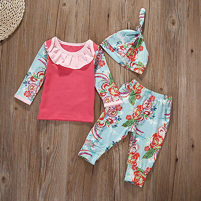 Newborn Baby Girls T-shirt Tops+Long Pants Hat Floral Clothes Outfits Set 0-18M
