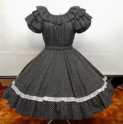 2 Piece Black Dotted Square Dance Dress