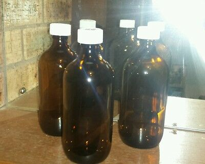 New Bulk Lot 5 X  Huge 500Ml Gorgeous Amber Glass Bottles With Childproof Caps