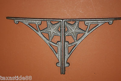 "(2)pcs, 7 3/4"" LONE STAR SHELF BRACKETS, CAST IRON LONE STAR WALL DECOR, B-13"