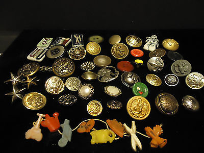 Big Lot of 50 Vintage Sewing Buttons Military Plastic Figural Metal Decorative