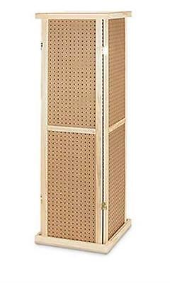 For Sale Pegboard Tower Rotating Display Rack - 4 Sided 5' Tall (Wood)