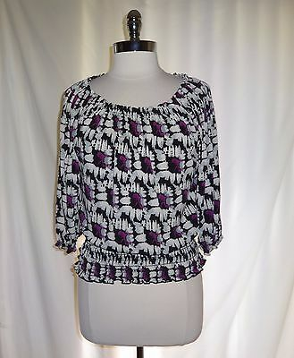 SUNNY LEIGH Size L Shirt Top Black Grey Purple Floral Stretch USA