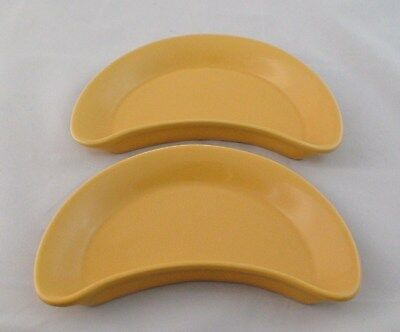 """2 H F Coors Yellow Crescent Plates 8 7/8"""" x 5 1/2"""""""