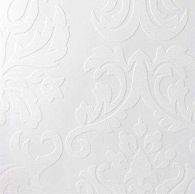White Paintable Large Scale Damask Wallpaper - Textured/Embossed - 10m Roll