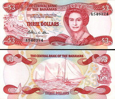 BAHAMAS - 3 Dollars 1984 FDS - UNC Serie A00