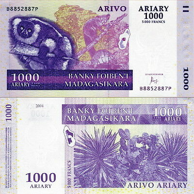 MADAGASCAR - 1000 Ariary (5000 francs) 2016 (2004) FDS - UNC