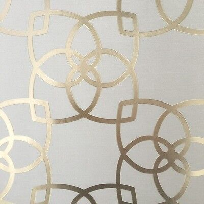 Metallic Beige with Gold Textured Geometric Wallpaper - Moroccan Style - Luxe!