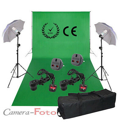 Big Background Stand +3x 6m Chroma Key Chromakey Green Screen backdrop Light Kit