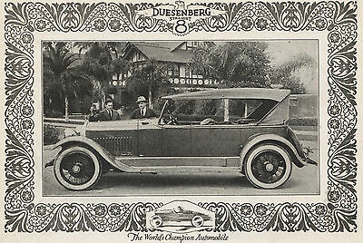 1922 Original DUESENBERG Straight 8 Full Page AD. PHOTO + NATIONAL Six Car AD