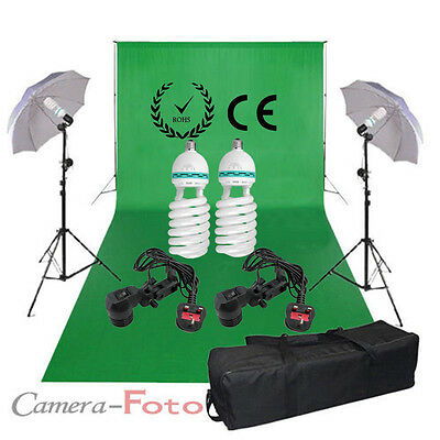 PRO Chromakey Green Backdrop Studio Video Screen Background Support Lighting Kit