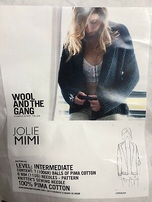 Wool and the Gang - Jolie Mimi Cardigan Knitting Kit in Cinder Black RRP $99