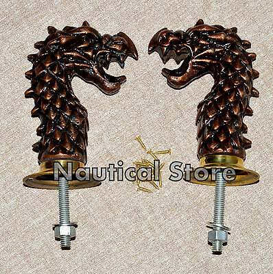 Pair Brass Art Dragon Door Pull Handles Knobs Plates 1