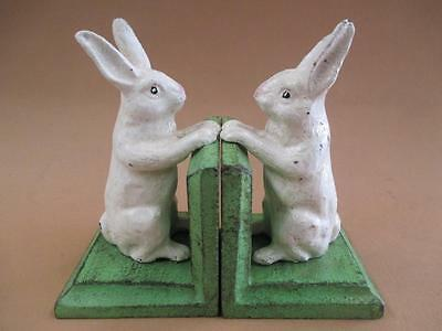 Bookends, Cast Iron, Rabbits, Vintage, Antique