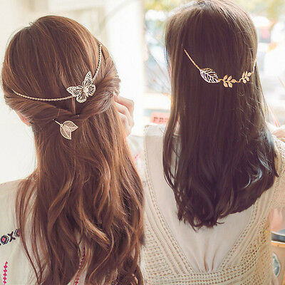 New Arrival Butterfly Leaf Hair Chain Jewelry Fashion Accessories Gold Rose-Gold