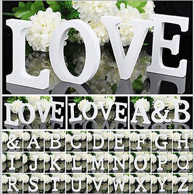 Home Decor Thick Wood Wooden White Letters Alphabet Wedding Birthday Decoration