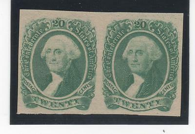1863 Confederate States Scott 13 20c Washington green pair full MOG NH