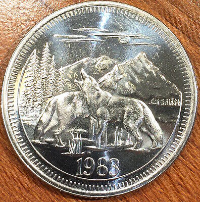 1983 Canada Trade Dollar Token Jasper National Park Howling Wolves & Mountains