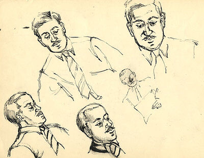 Early 20th Century Pen and Ink Drawing - Studies of Suited Gentleman