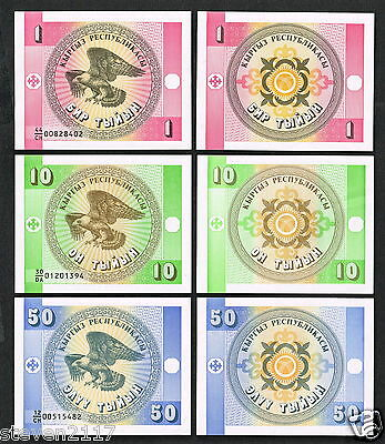3 Banknotes From Krygyzstan Tyrin Set Of Three (3) Notes--1--10--50