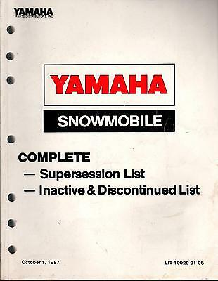1987 Yamaha Snowmobile Parts Distributors Parts Price List Manual