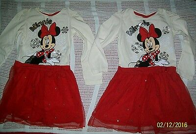 Twin girls clothes bundle MINNIE MOUSE Christmas dresses size 3-4 years