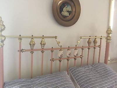 Brass Queen bed And Side Drawers