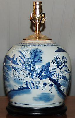 Chinese LAMP Canton Nautical GINGER JAR Vase Porcelain Blue & White Qing Style