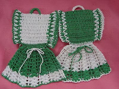 Pair Vintage Handmade Crocheted Dress Hot Pads Pot Holders-Green and White
