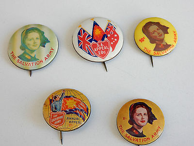 Lot of Vintage 5 Salvation Army Appeal Button Badges
