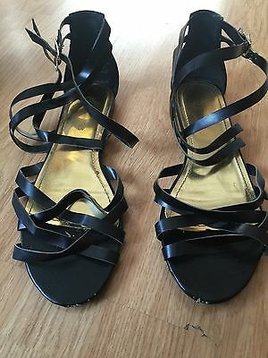 Black And Gold Strappy Sandals From H&M Size 7