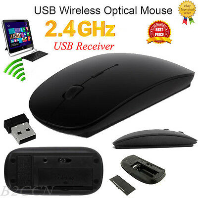 2.4GHz Slim USB Wireless Mouse Cordless Optical Scroll PC Laptop With Receiver A