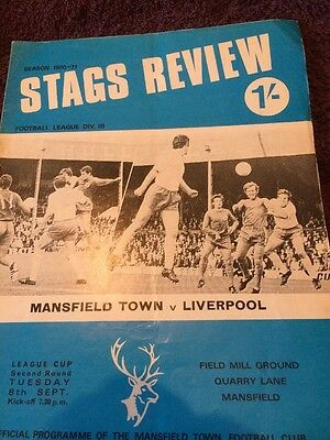Mainsfield V Liverpool 1970-71 League Cup Programme