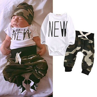UK Camouflage Newborn Baby Boys Tops Rompers Pants Leggings Outfits Set Clothes