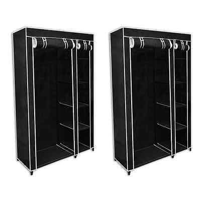S# 2pcs Portable Wardrobe with Cover Clothes Rack Black Cloth Store Hanger Cabin