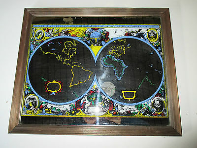 Vintage mirror nautical map wooden framed