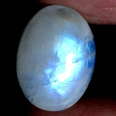 17.35Cts 100% NATURAL CHATOYANT RAINBOW MOONSTONE OVAL CABOCHON TOP GEMSTONES