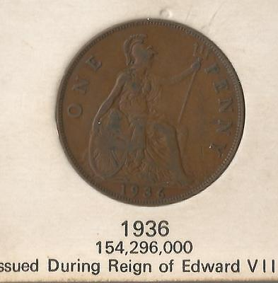 GREAT BRITAIN 1936 KING GEORGE V PENNY COIN - issued under Edward VIII