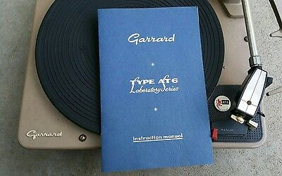 Vintage Garrard record turntable AT 6 Laboratory Series with Manual