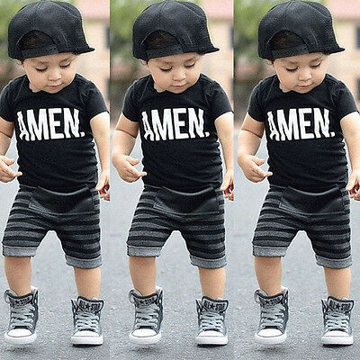 USA 2pcs Toddler Kids Baby Boy T-shirt Tops+Long Pants Trousers Outfits Clothing