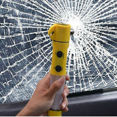 4 in 1 Multi-Function Car Safety Emergency Escape Life Hammer LED Warning Torch